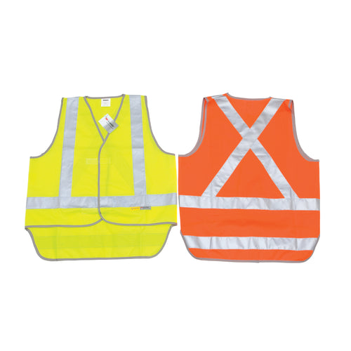 Day/Night Cross Back Safety Vests with Tail - 3802