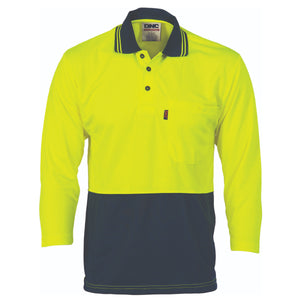 HiVis Two Tone Cool Breathe Polo Shirt, 3/4 Sleeve - 3812