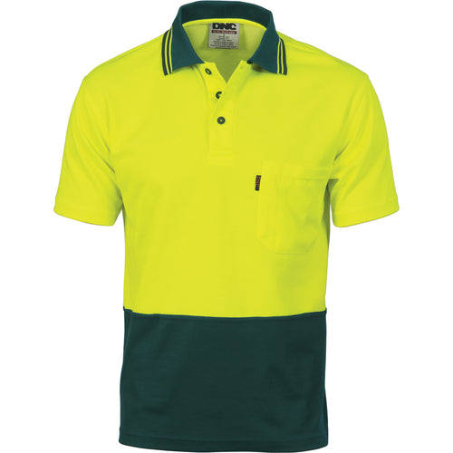 Cotton Back HiVis Two Tone Fluro Polo - Short Sleeve - 3814