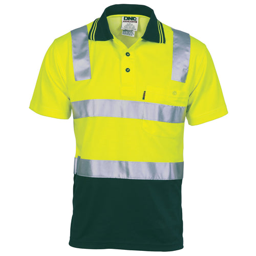 Cotton Back HiVis Two Tone Polo Shirt with CSR R/ Tape - Short sleeve - 3817