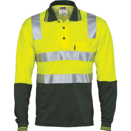Cotton Back HiVis Two Tone Polo Shirt with CSR R/ Tape - L/S - 3818