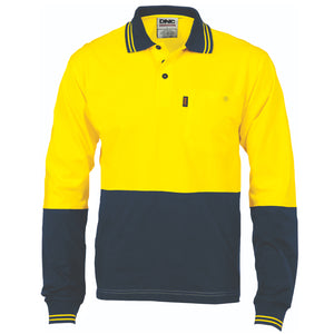 HiVis Cool-Breeze Cotton Jersey Polo Shirt with Under Arm Cotton Mesh - L/S - 3846