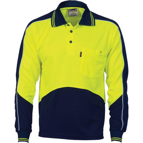 HiVis Cool Breathe Panel Polo Shirt - Long Sleeve - 3892