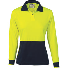 Load image into Gallery viewer, Ladies HiVis Two Tone Polo Shirt - Long Sleeve - 3898