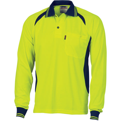 Cool-Breeze Contrast Mesh Polo - long sleeve - 3902