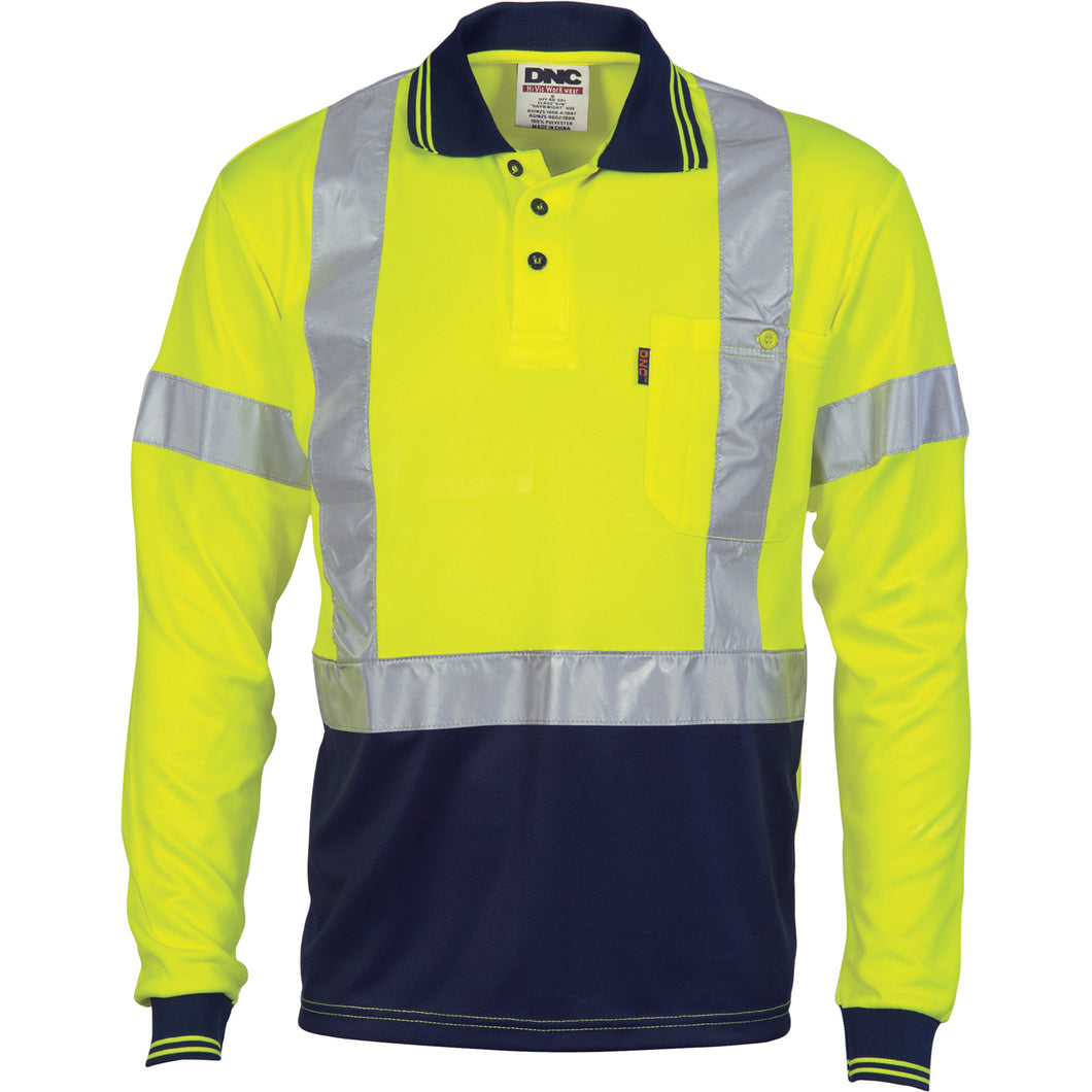 Hivis D/N Cool-Breathe Polo Shirt With Cross Back R/Tape - Long Sleeve - 3914