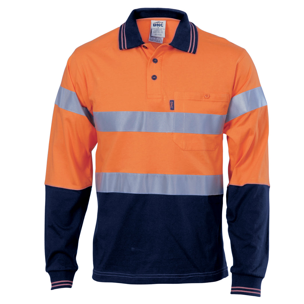 Hivis Cool-Breeze Cotton Jersey Polo With CSR R/Tape - L/S - 3916