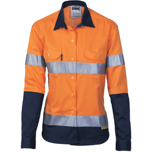 Ladies HiVis Two Tone Drill Sh irt with 3M R/Tape - Long sleeve - 3936