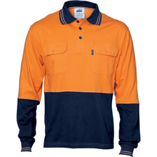 Load image into Gallery viewer, HiVis Cool-Breeze 2 Tone Cotton Jersey Polo Shirt with Twin Chest Pocket - L/S - 3944