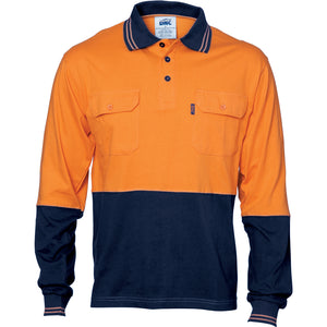 HiVis Cool-Breeze 2 Tone Cotton Jersey Polo Shirt with Twin Chest Pocket - L/S - 3944