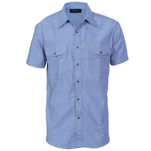 Mens Twin Flap Pocket Cotton Chambray - Short Sleeve - 4103