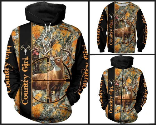 3D Country Girl Orange & Black Hoodie, Jacket or Sweatshirt