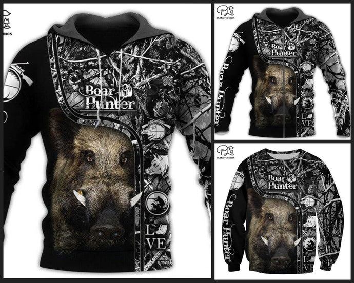 3D Boar Hunter Black & White Hoodie, Jacket or Sweatshirt