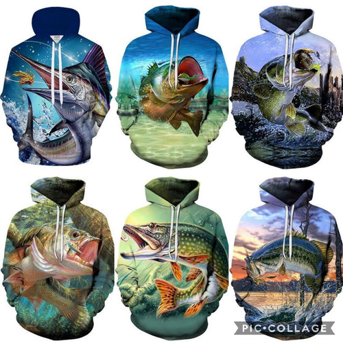 3D Fishing Hoodies (6 Different Types)
