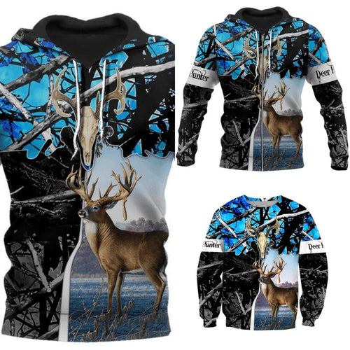 3D Deer Hunter Blue/Camo Hoodie, Jacket or Sweatshirts