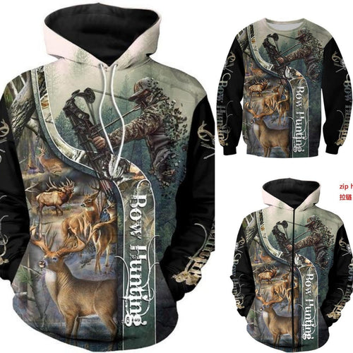 3D Bow Hunting Hoodie, Jacket or Sweatshirt