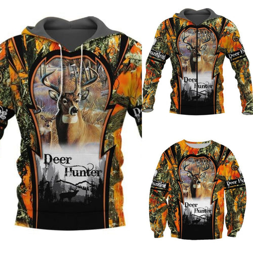 3D Deer Hunter Orange/Camo Hoodie, Jacket or sweatshirt