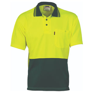 HiVis Two Tone Cool Breathe Polo Shirt, Short Sleeve - 3811