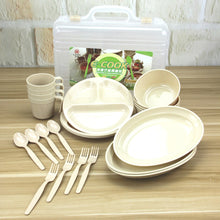 Load image into Gallery viewer, 24 Pieces Plastic Reusable Tableware Set