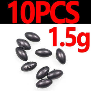 10PCS Reusable Olive Shape Lead Sinkers