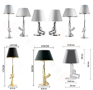 Gun Table Lamps (Available in Gold or Silver)