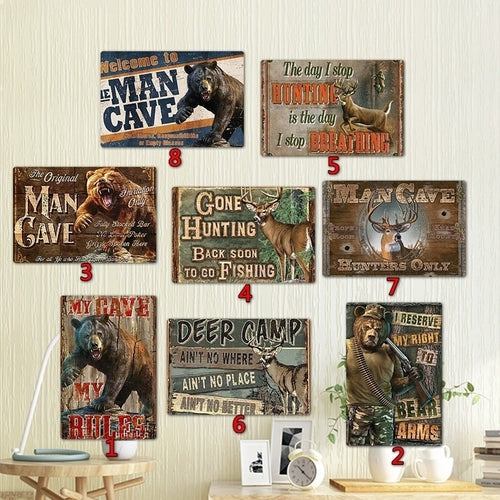 Man Cave Hunting Metal Signs