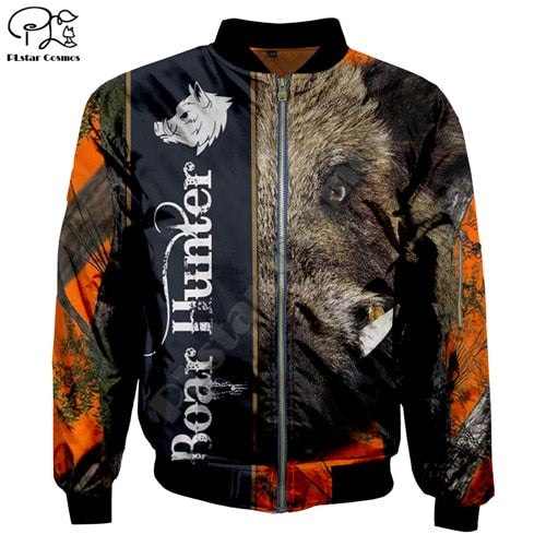 3D Boar Hunter Unisex Bomber Jacket