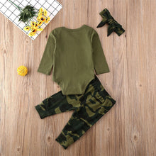 "Load image into Gallery viewer, Baby ""Mama's Girl"" or Mama's Boy"" Camo Outfit"