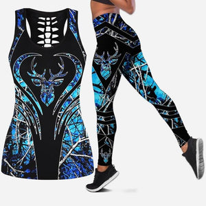 3D Deer Head Blue/Camo Tank Top & Legging Set