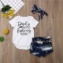 "Load image into Gallery viewer, Baby 3 piece ""Dads Little Fishing Buddy"" outfit"
