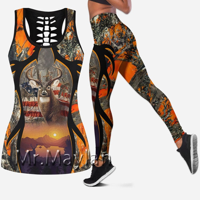 3D Orange Deer/American flag Tank Top, Leggings or set