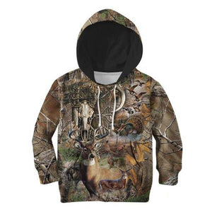 Kids 3D Camo Hunting Hoodie, Jacket, Sweatshirt or T-shirt