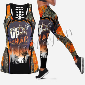 "3D ""Shut up And Hunt"" Tank top, Leggings or Set"