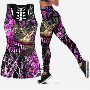 3D Country Girl Pink Tank Top, Leggings or Set
