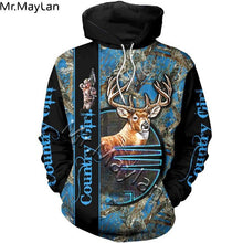 Load image into Gallery viewer, 3D Blue Country Girl Hoodie, Jacket or Sweatshirt