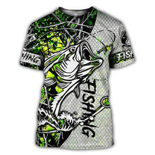 Load image into Gallery viewer, 3D Fishing T-shirt Green