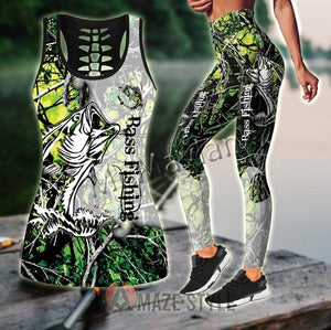 3D Bass Fishing Women Camo Tank Top & Legging set
