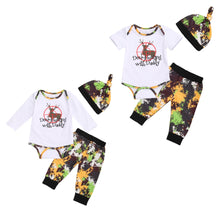"Load image into Gallery viewer, 3pcs ""Deer Hunting With Daddy"" Long or Short Sleeve Romper, Pants Suit Set"