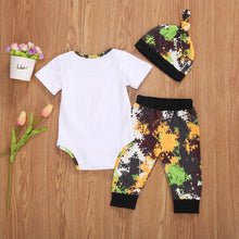 "Load image into Gallery viewer, 3pcs ""Daddy's New Hunting Buddy""  Long  or Short Romper, Pants Suit Sleeve Set"