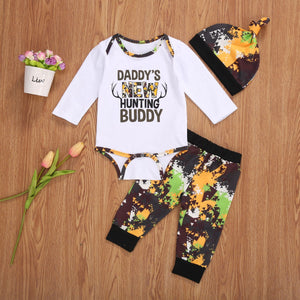 "3pcs ""Daddy's New Hunting Buddy""  Long  or Short Romper, Pants Suit Sleeve Set"