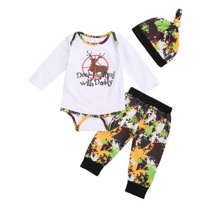"3pcs ""Deer Hunting With Daddy"" Long or Short Sleeve Romper, Pants Suit Set"