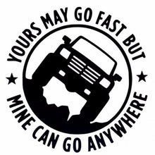 Load image into Gallery viewer, YOURS MAY GO FAST MINE CAN GO ANYWHERE Funny Car Sticker