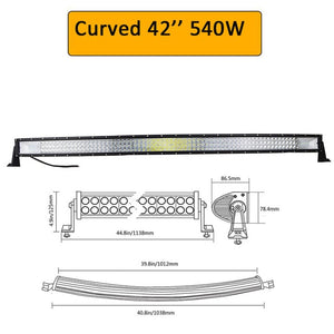 "Auxtings 22"" 32"" 42"" 52""inch Curved Led Light Bars"
