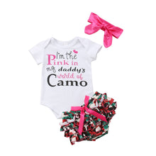 "Load image into Gallery viewer, Baby Girls ""I'm The Pink in My Daddy's World of Camo"" Outfit"