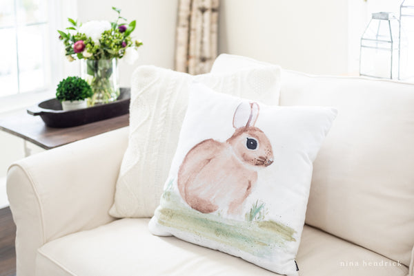 Spring Bunny Pillow Cover