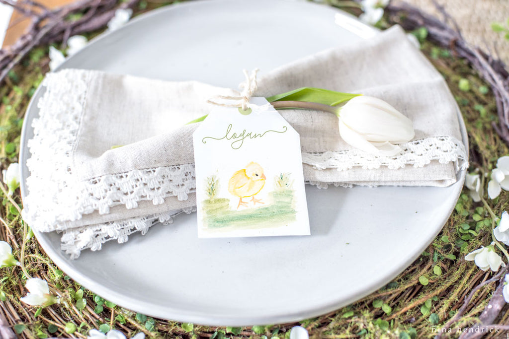 Watercolor Easter Place Card Printables