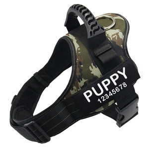 Personalized Dog Harness with Name and Phone Number, No Pull Dog Harness Custom Name Patch, Service Dog Vest