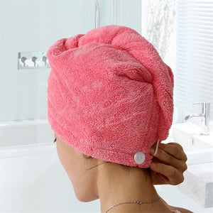 Quick Hair Drying Bath Towel Easy Twist and Button 3-Pack