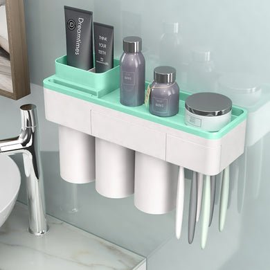 Bathroom Accessories Set Toothbrush, Cup and Phone holder Magnetic Wall Mounted Bathroom Cleansing Rack