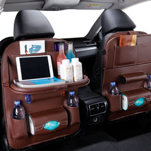 Load image into Gallery viewer, Organizer with Tray for Car Seat, Vehicle Storage Organizer with Table for Car Seat, Travel Holder in Car  Universal Leather